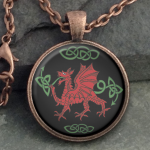 Glass Domed Red Dragon - Round