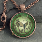 Glass Domed Stag-Round