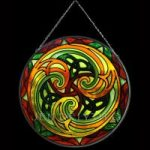 Triskel Green/Orange Stained Glass